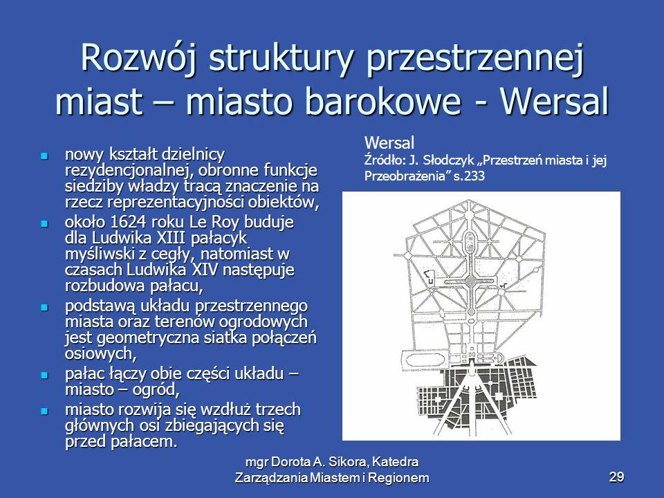 mgr Dorota A. Sikora, Katedra Zarządzania Miastem i Regionem29 Rozwój struktury przestrzennej miast – miasto barokowe - Wersal nowy kształt dzielnicy