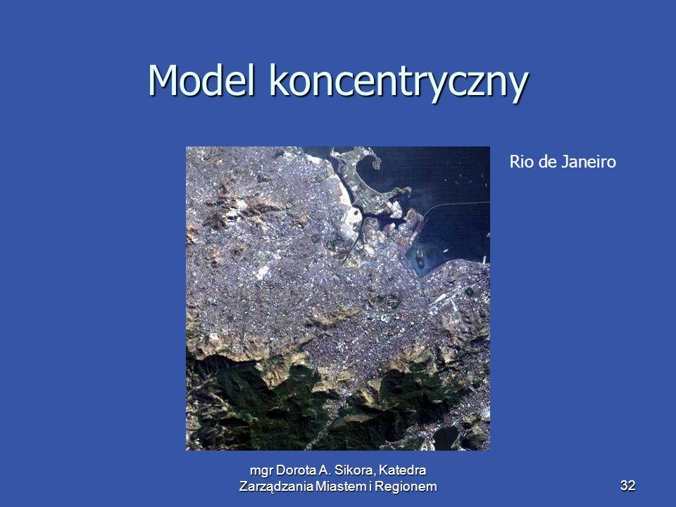 mgr Dorota A. Sikora, Katedra Zarządzania Miastem i Regionem32 Model koncentryczny Rio de Janeiro