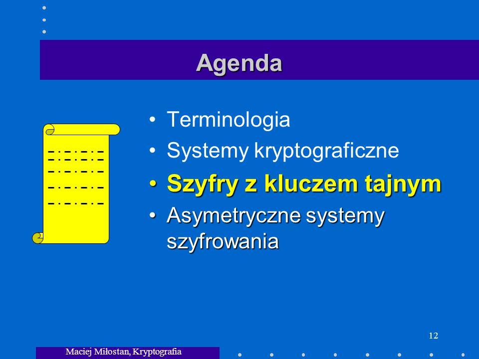 Maciej Miłostan, Kryptografia 12 Agenda Terminologia Systemy kryptograficzne Szyfry z kluczem tajnymSzyfry z kluczem tajnym Asymetryczne systemy szyfrowaniaAsymetryczne systemy szyfrowania