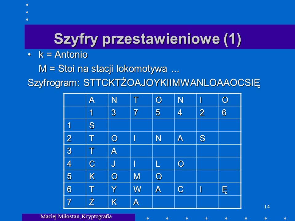 Maciej Miłostan, Kryptografia 14 Szyfry przestawieniowe (1) k = Antoniok = Antonio M = Stoi na stacji lokomotywa...