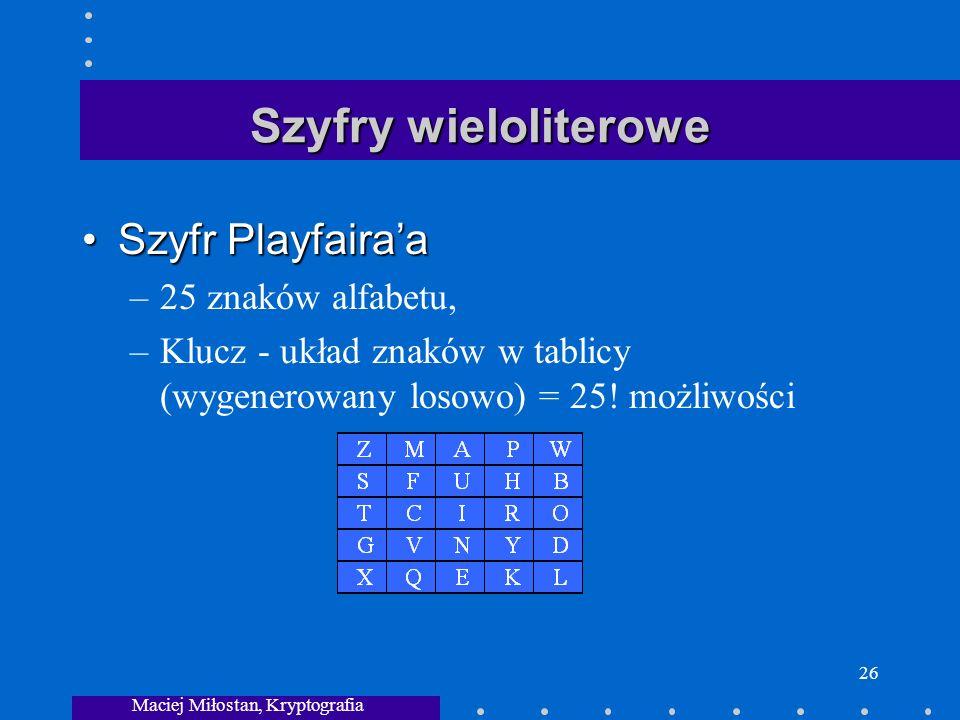 Maciej Miłostan, Kryptografia 26 Szyfry wieloliterowe Szyfr PlayfairaaSzyfr Playfairaa –25 znaków alfabetu, –Klucz - układ znaków w tablicy (wygenerowany losowo) = 25.