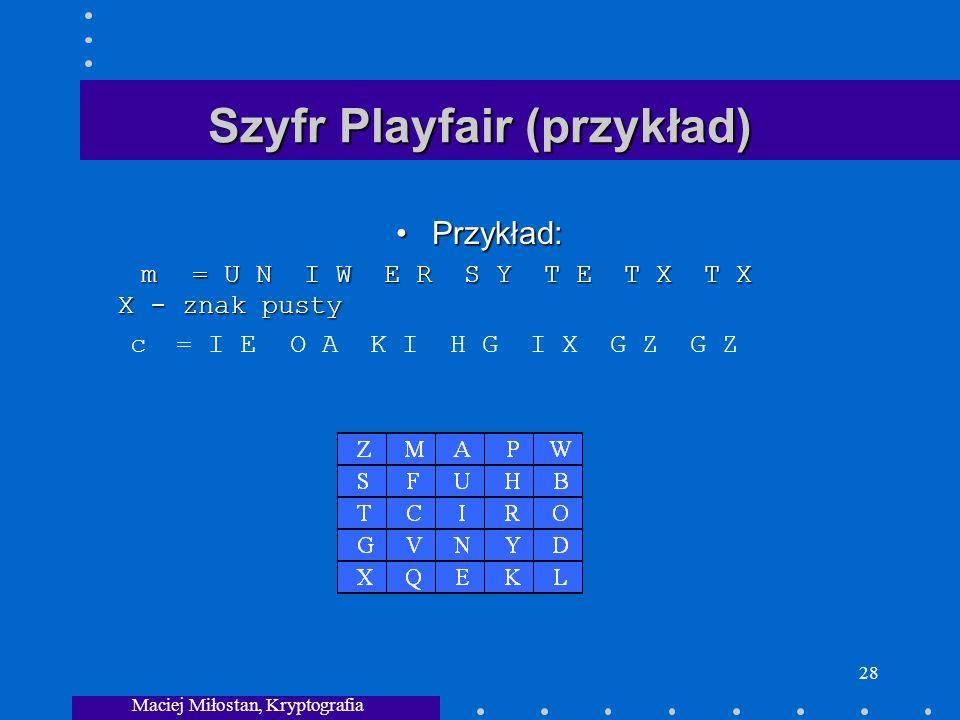 Maciej Miłostan, Kryptografia 28 Szyfr Playfair (przykład) Przykład: m= U N I WE R S Y T E T X T X X - znak pustyPrzykład: m= U N I WE R S Y T E T X T X X - znak pusty c = I E O AK I H G I X G Z G Z