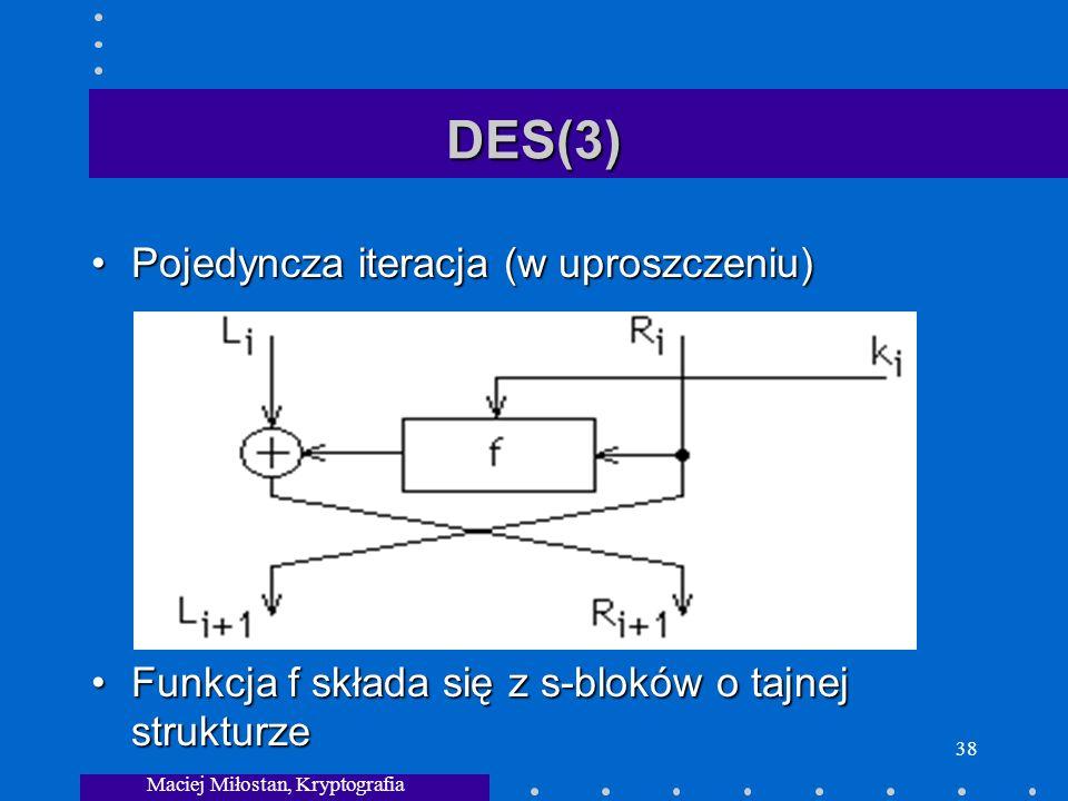 Maciej Miłostan, Kryptografia 38 DES(3) Pojedyncza iteracja (w uproszczeniu)Pojedyncza iteracja (w uproszczeniu) Funkcja f składa się z s-bloków o tajnej strukturzeFunkcja f składa się z s-bloków o tajnej strukturze