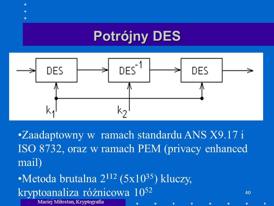 Maciej Miłostan, Kryptografia 40 Potrójny DES Zaadaptowny w ramach standardu ANS X9.17 i ISO 8732, oraz w ramach PEM (privacy enhanced mail) Metoda brutalna 2 112 (5x10 35 ) kluczy, kryptoanaliza różnicowa 10 52