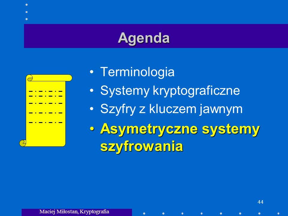 Maciej Miłostan, Kryptografia 44 Agenda Terminologia Systemy kryptograficzne Szyfry z kluczem jawnym Asymetryczne systemy szyfrowaniaAsymetryczne systemy szyfrowania