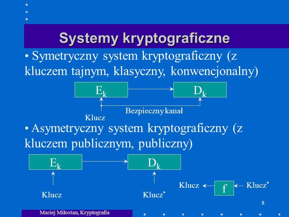 Maciej Miłostan, Kryptografia 8 Systemy kryptograficzne EkEk DkDk Klucz Bezpieczny kanał Symetryczny system kryptograficzny (z kluczem tajnym, klasyczny, konwencjonalny) As ymetryczny system kryptograficzny (z kluczem publicznym, publiczny) EkEk DkDk KluczKlucz * Klucz f