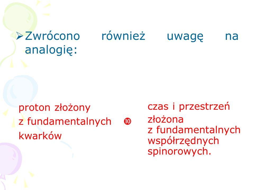 Już w latach 50. (Rzewuski, 1958) i 60. oraz 70. (Penrose) postu- lowano, iż fundamentalna geometria jest opisana współrzędnymi spinoro- wymi: spinory