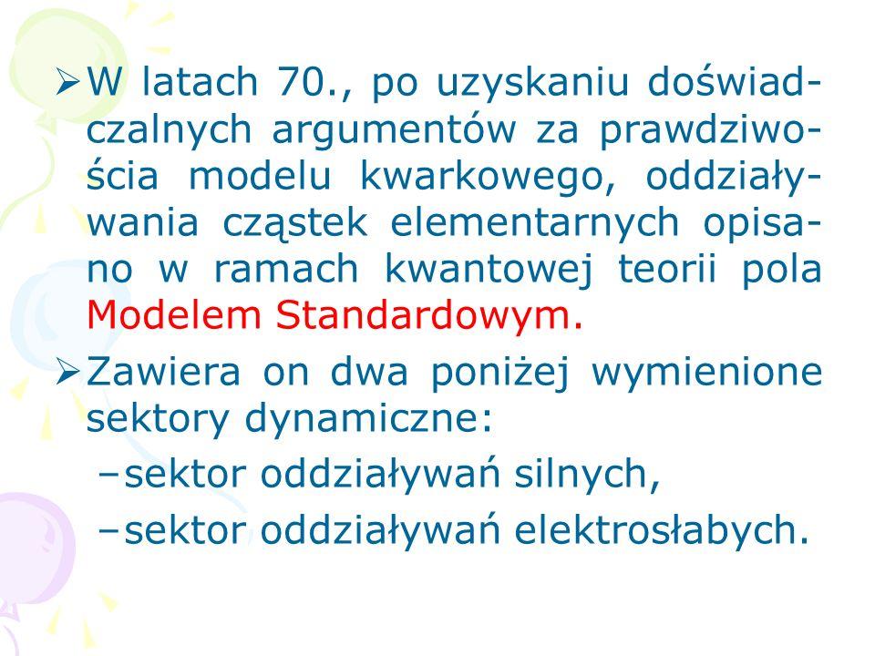 Hadrony o spinie całkowitym – me- zony m – to stany związane kwarków i antykwarków, opisane iloczynem pary pól kwarkowych: gdzie: