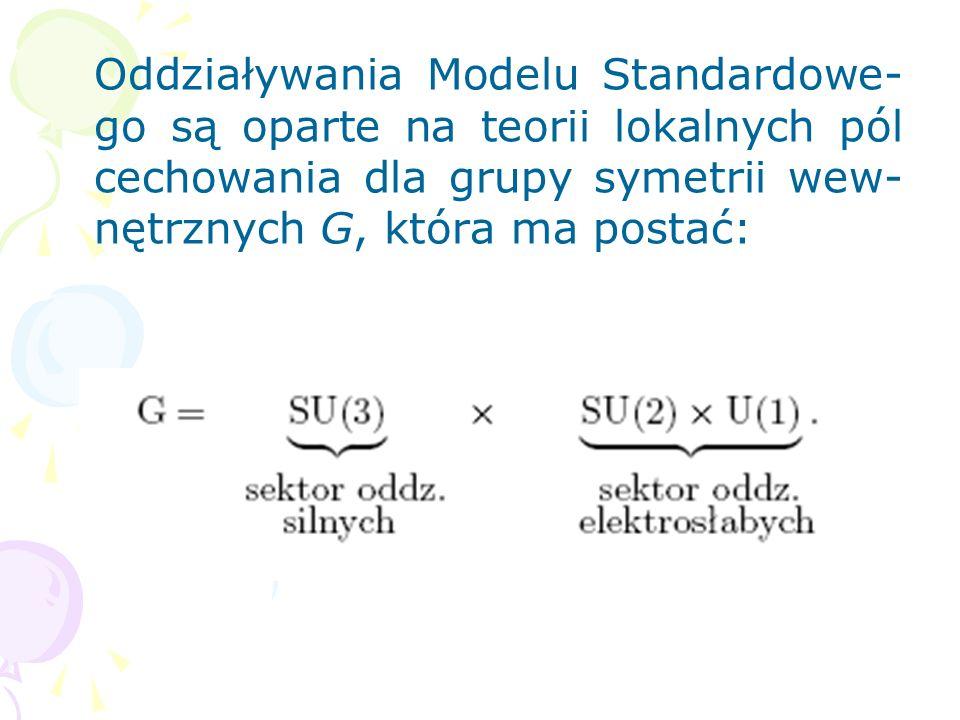 Oddziaływania elektrosłabe Model Salama-Weinberga, leptony są opisane fundamentalnymi polami kwantowymi, skalarne pola Higgsa, bozony pośredniczące: