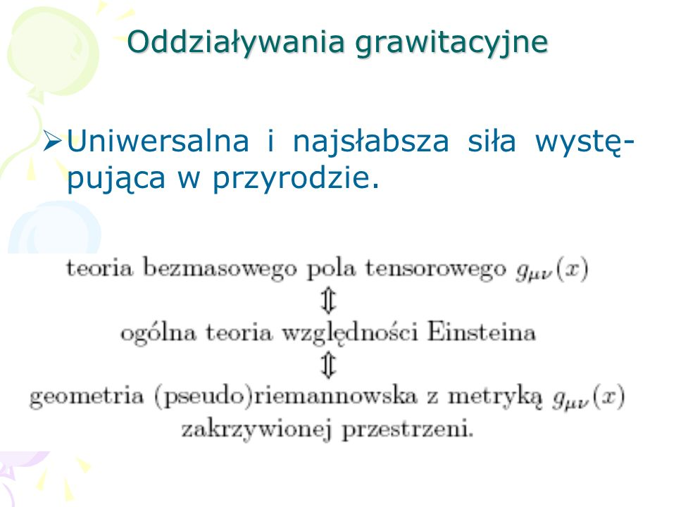 Oddziaływania Modelu Standardowe- go są oparte na teorii lokalnych pól cechowania dla grupy symetrii wew- nętrznych G, która ma postać: