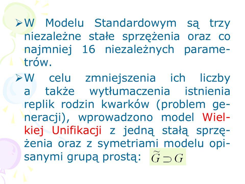 Model Standardowy jest teorią renor- malizowalną. Teoria Einsteina po kwantowaniu jest nierenormalizowalna (pewne nadzie- ję daje pętlowa kwantowa gra