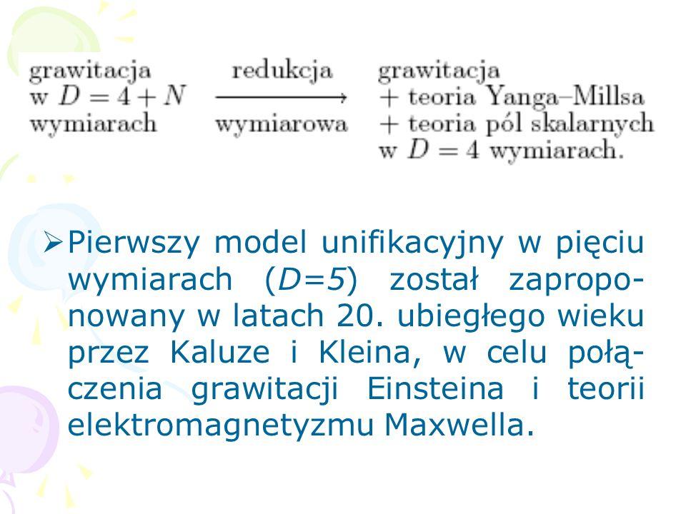 3. Dodatkowe wymiary czasoprzestrzeni, model Kaluzy-Kleina Rozszerzenie czasoprzestrzeni o do- datkowe wymiary przestrzenne (r = 1,...,N):