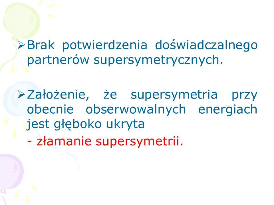 Minimalne supersymetryczne rozsze- rzenie Modelu Standardowego po- zwoliło wyjaśnić niektóre dotych- czasowe problemy np. stabilność ma- łych parametr