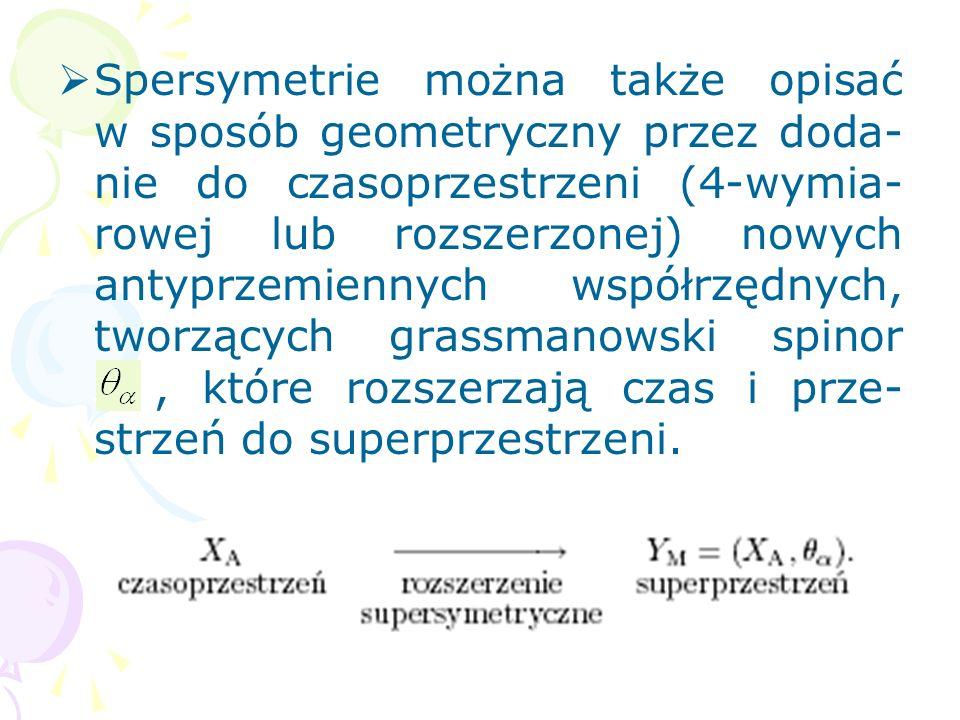 Spersymetrie można także opisać w sposób geometryczny przez doda- nie do czasoprzestrzeni (4-wymia- rowej lub rozszerzonej) nowych antyprzemiennych współrzędnych, tworzących grassmanowski spinor, które rozszerzają czas i prze- strzeń do superprzestrzeni.