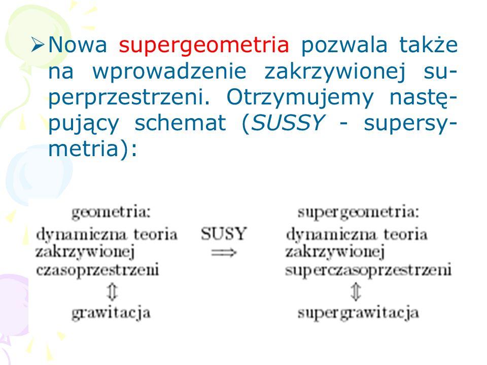 Spersymetrie można także opisać w sposób geometryczny przez doda- nie do czasoprzestrzeni (4-wymia- rowej lub rozszerzonej) nowych antyprzemiennych ws