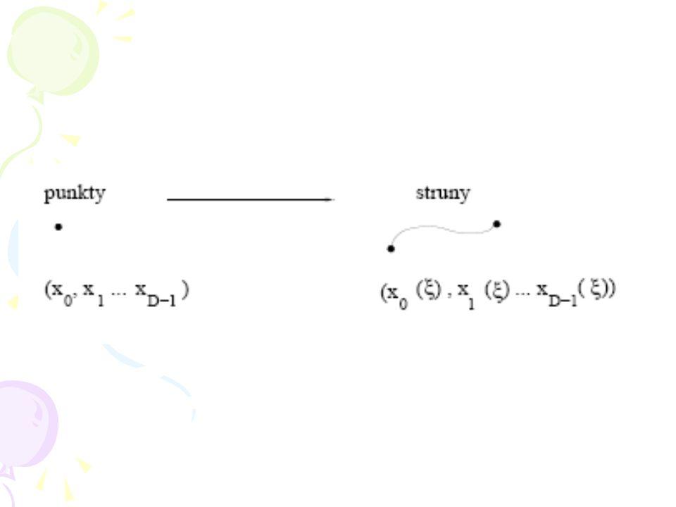 W teorii strun wprowadzono nową idealizację geometryczną cząstki elementarnej, polegającą na zastą- pieniu współrzędnych cząstki funkcjami gdzie param