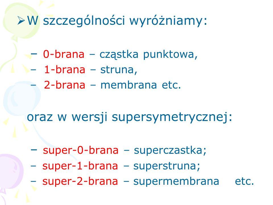 8. Teoria M Poza piątką kwantowych superstrun w D = 10 udowodniono, że w nowej teorii strun istnieje wiele innych obiektów niepunktowych – bran p- wym