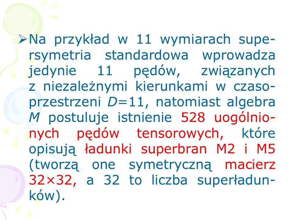 W 11-wymiarowej teorii M uogólnio- ne supersymetrie są opisane przez algebrę M (Townsend, 1997). Wpro- wadza ona nowy typ supersymetrii, generowanej p