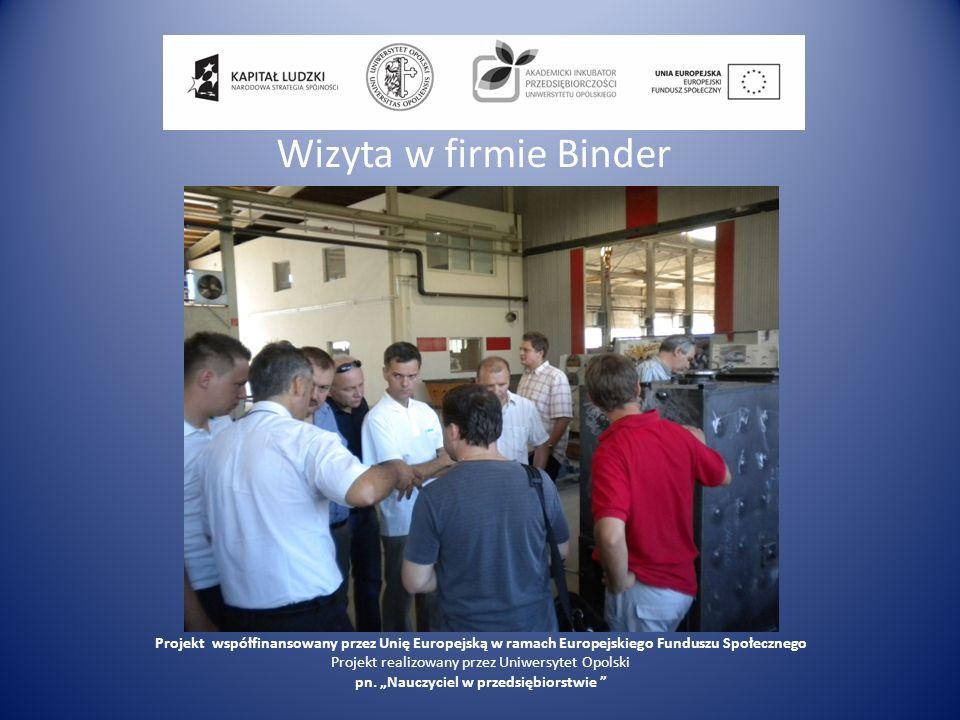 Wizyta w firmie Binder Projekt współfinansowany przez Unię Europejską w ramach Europejskiego Funduszu Społecznego Projekt realizowany przez Uniwersyte