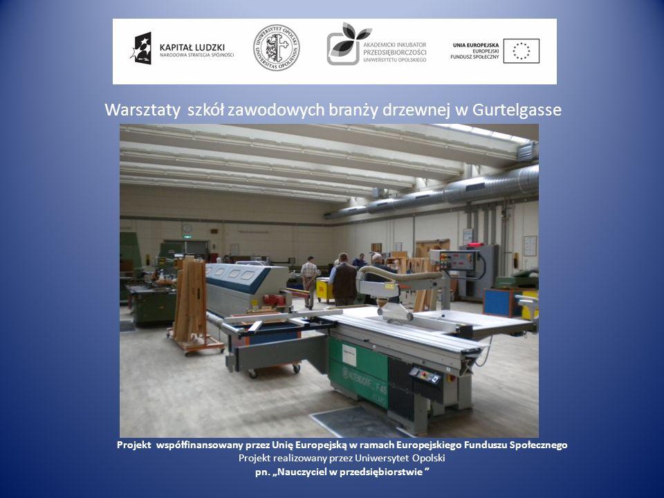 Warsztaty szkół zawodowych branży drzewnej w Gurtelgasse Projekt współfinansowany przez Unię Europejską w ramach Europejskiego Funduszu Społecznego Pr