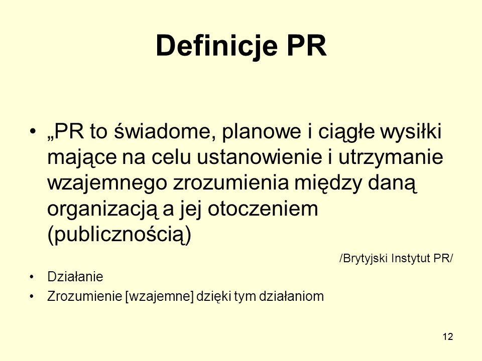 12 Definicje PR PR to świadome, planowe i ciągłe wysiłki mające na celu ustanowienie i utrzymanie wzajemnego zrozumienia między daną organizacją a jej