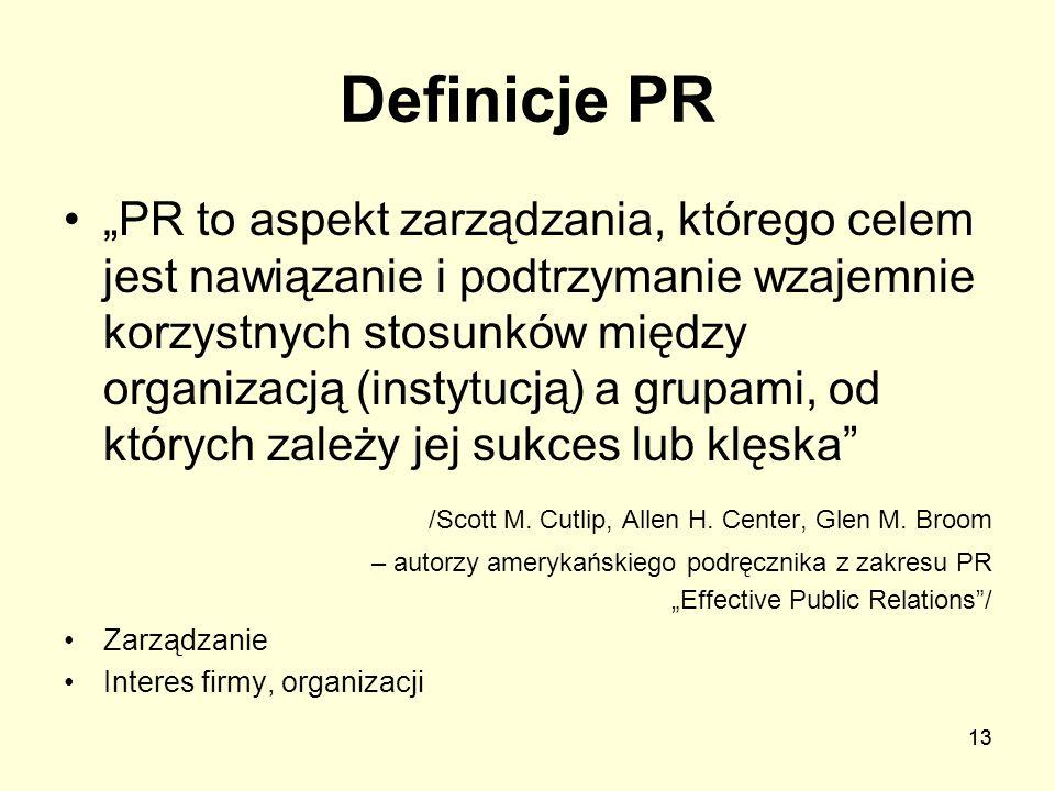 13 Definicje PR PR to aspekt zarządzania, którego celem jest nawiązanie i podtrzymanie wzajemnie korzystnych stosunków między organizacją (instytucją)