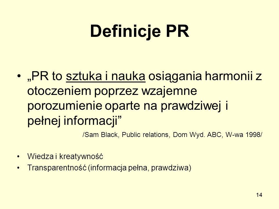 14 Definicje PR PR to sztuka i nauka osiągania harmonii z otoczeniem poprzez wzajemne porozumienie oparte na prawdziwej i pełnej informacji /Sam Black