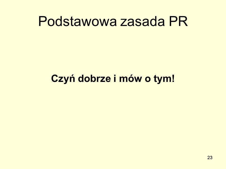 23 Podstawowa zasada PR 23 Czyń dobrze i mów o tym!