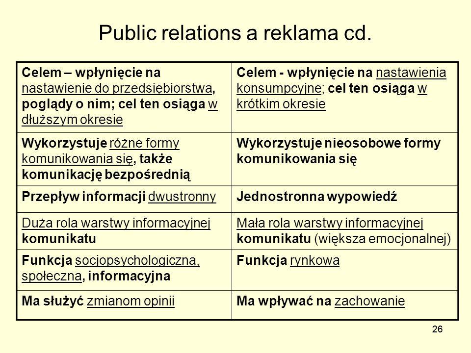 26 Public relations a reklama cd. Celem – wpłynięcie na nastawienie do przedsiębiorstwa, poglądy o nim; cel ten osiąga w dłuższym okresie Celem - wpły