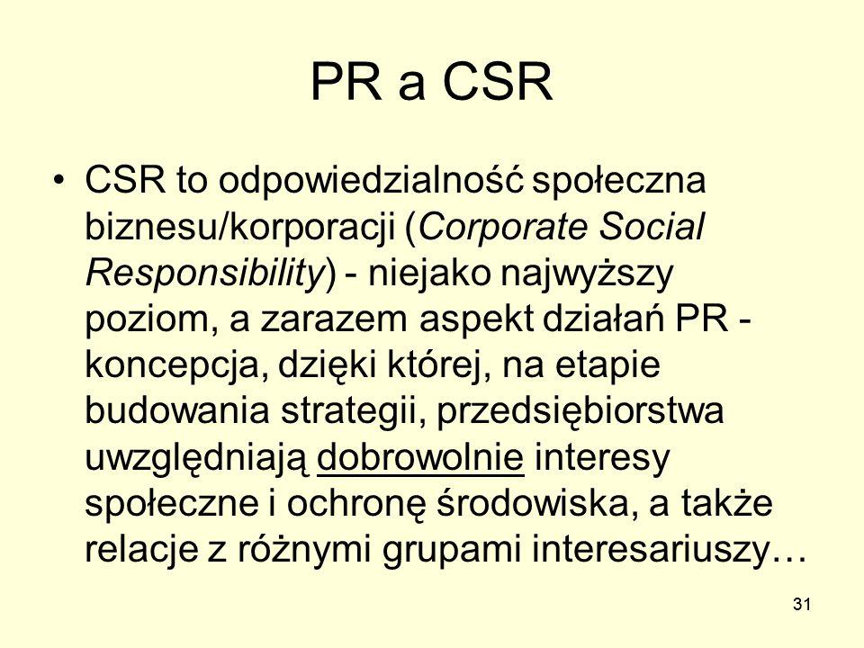 31 PR a CSR CSR to odpowiedzialność społeczna biznesu/korporacji (Corporate Social Responsibility) - niejako najwyższy poziom, a zarazem aspekt działa