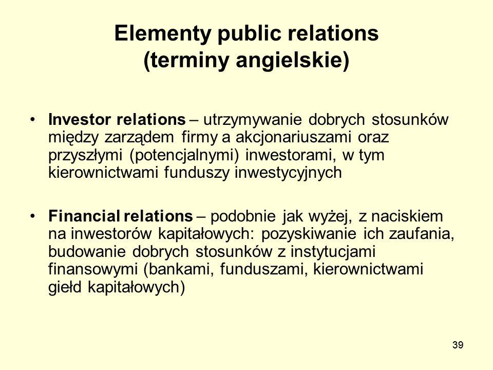 39 Elementy public relations (terminy angielskie) Investor relations – utrzymywanie dobrych stosunków między zarządem firmy a akcjonariuszami oraz prz