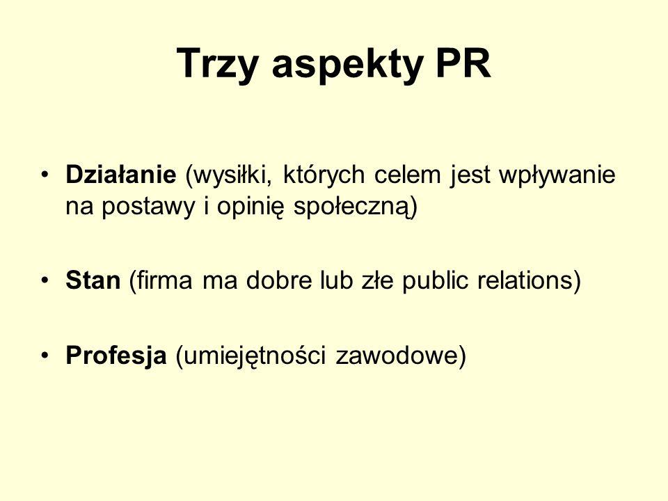 Trzy aspekty PR Działanie (wysiłki, których celem jest wpływanie na postawy i opinię społeczną) Stan (firma ma dobre lub złe public relations) Profesj