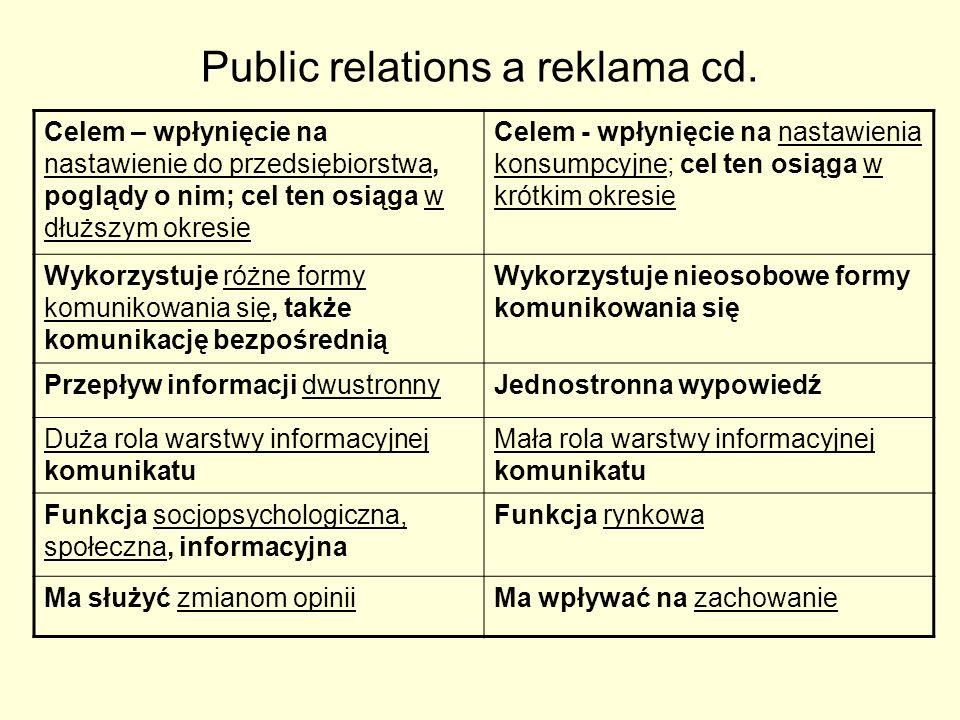 Public relations a reklama cd. Celem – wpłynięcie na nastawienie do przedsiębiorstwa, poglądy o nim; cel ten osiąga w dłuższym okresie Celem - wpłynię