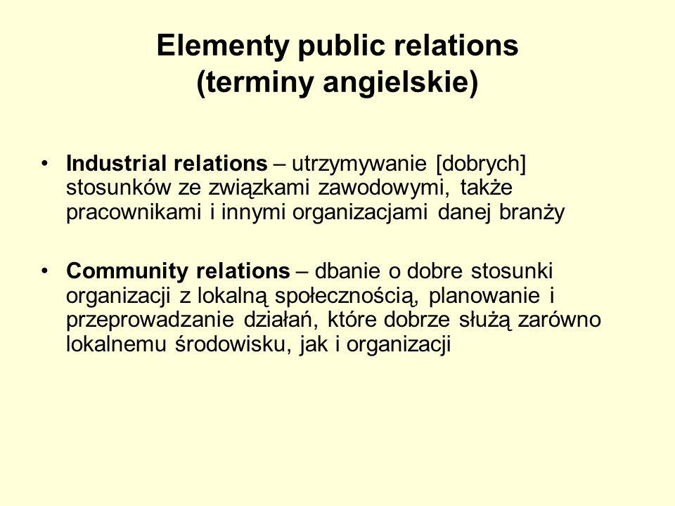 Elementy public relations (terminy angielskie) Industrial relations – utrzymywanie [dobrych] stosunków ze związkami zawodowymi, także pracownikami i i