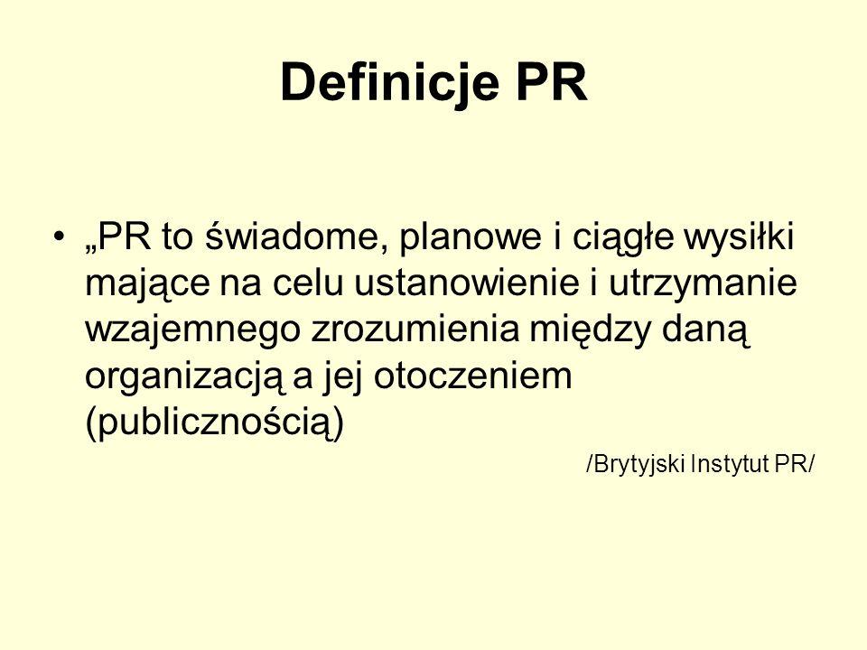 Definicje PR PR to świadome, planowe i ciągłe wysiłki mające na celu ustanowienie i utrzymanie wzajemnego zrozumienia między daną organizacją a jej ot