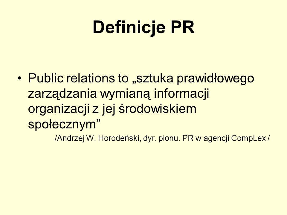 Definicje PR PR to świadome i uzasadnione starania o zrozumienie, jak też o budowę i pielęgnowanie zaufania w otoczeniu na podstawie systematycznego badania Niemieckie Stowarzyszenie PR/