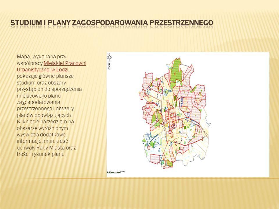 Mapa, wykonana przy współpracy Miejskiej Pracowni Urbanistycznej w Łodzi, pokazuje główne plansze studium oraz obszary przystąpień do sporządzenia mie