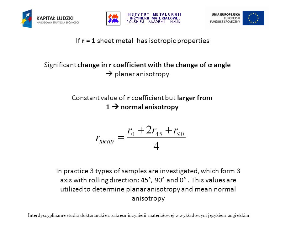 Constant value of r coefficient but larger from 1 normal anisotropy If r = 1 sheet metal has isotropic properties In practice 3 types of samples are i