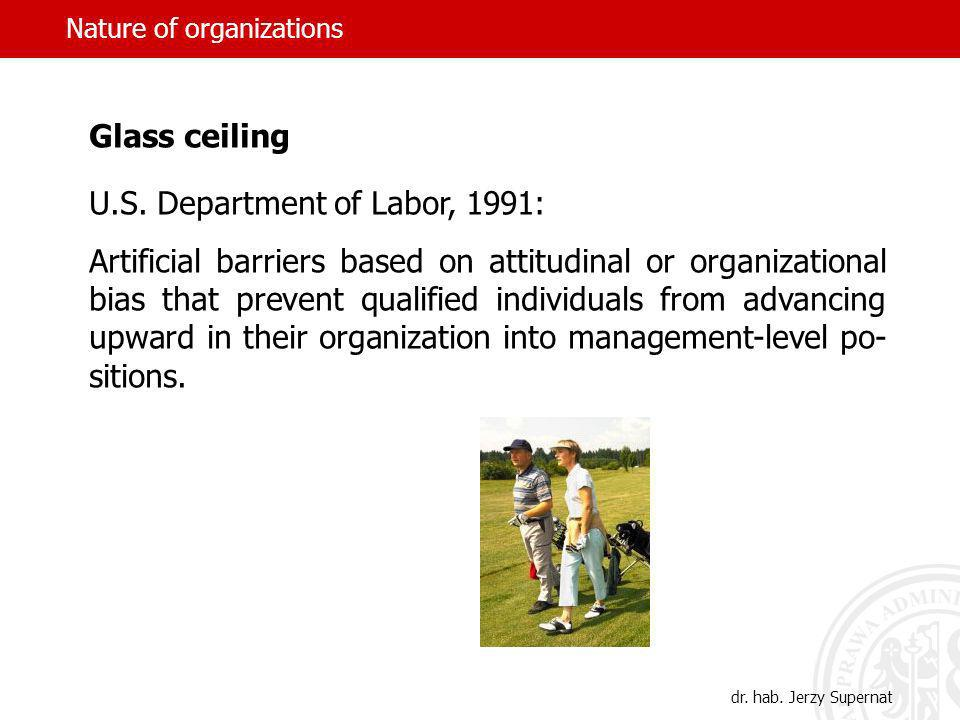 Nature of organizations Glass ceiling U.S.