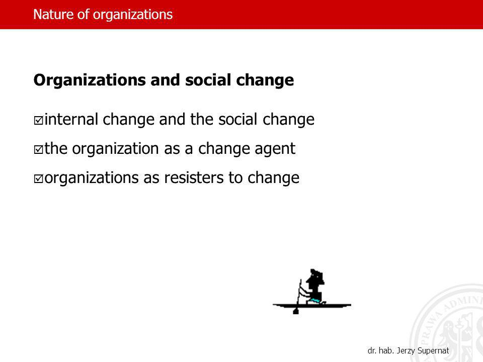 Nature of organizations Organizations and social change internal change and the social change the organization as a change agent organizations as resisters to change dr.