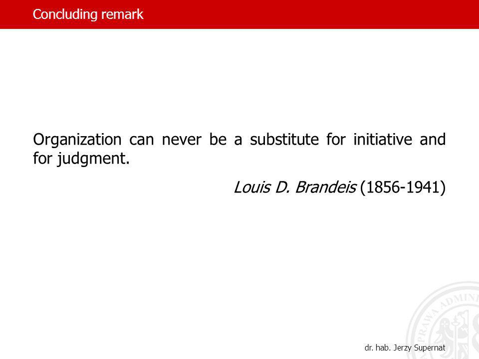 Concluding remark Organization can never be a substitute for initiative and for judgment.