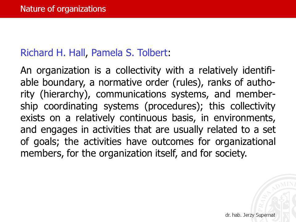 Nature of organizations Tadeusz Kotarbiński, The ABC of Practica-lity, transl.