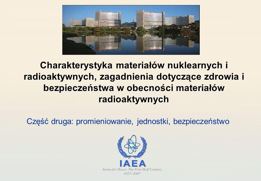 Charakterystyka materiałów nuklearnych i radioaktywnych, zagadnienia dotyczące zdrowia i bezpieczeństwa w obecności materiałów radioaktywnych Część druga: promieniowanie, jednostki, bezpieczeństwo