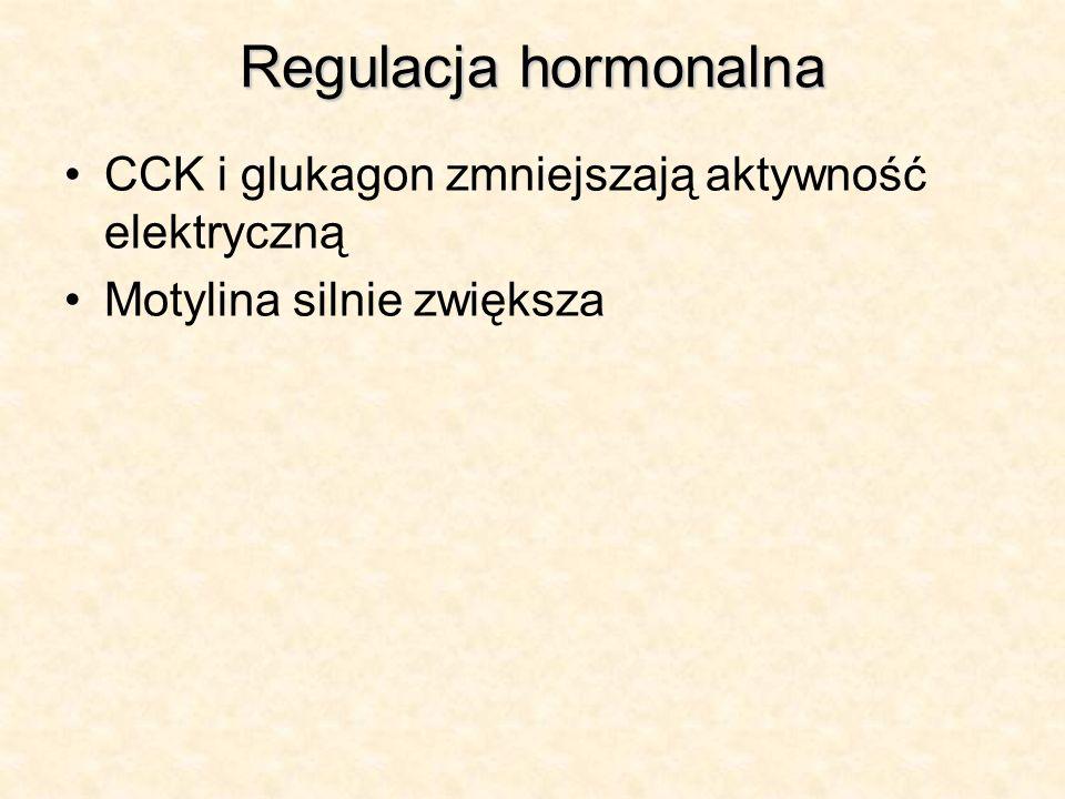 Regulacja hormonalna CCK i glukagon zmniejszają aktywność elektryczną Motylina silnie zwiększa