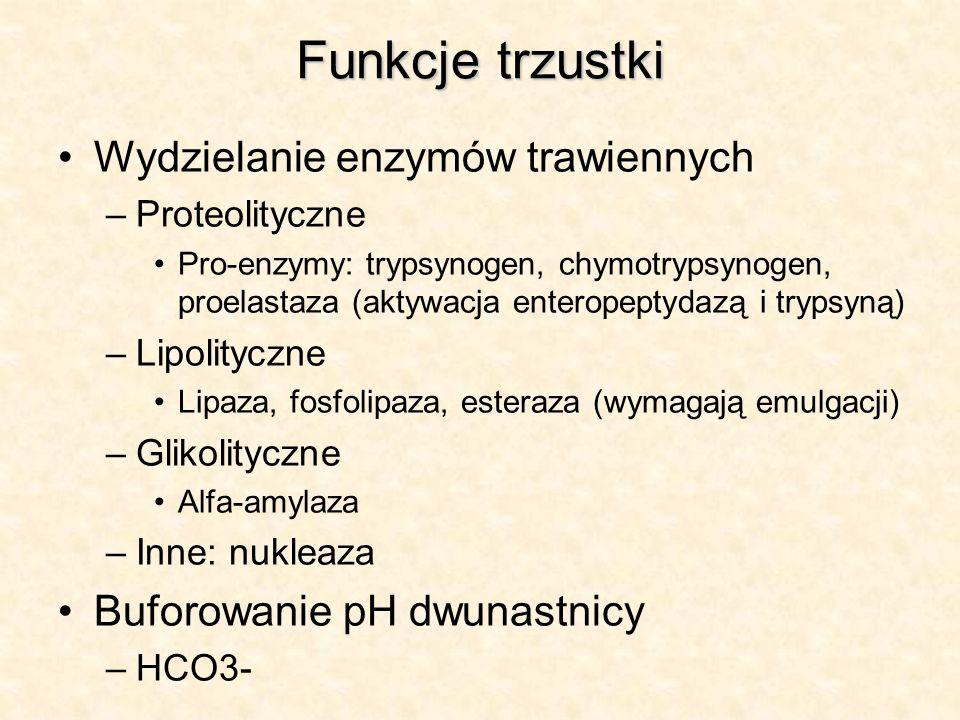 Funkcje trzustki Wydzielanie enzymów trawiennych –Proteolityczne Pro-enzymy: trypsynogen, chymotrypsynogen, proelastaza (aktywacja enteropeptydazą i t