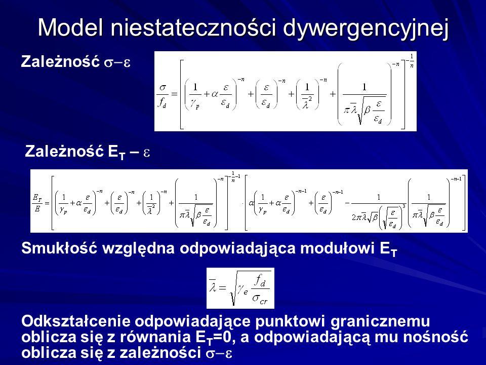 Model niestateczności dywergencyjnej Zależność Zależność E T – Odkształcenie odpowiadające punktowi granicznemu oblicza się z równania E T =0, a odpow