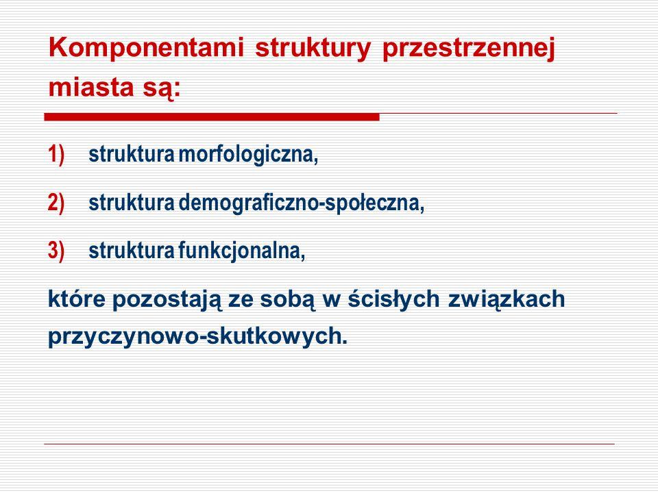 Komponentami struktury przestrzennej miasta są: 1)struktura morfologiczna, 2)struktura demograficzno-społeczna, 3)struktura funkcjonalna, które pozost