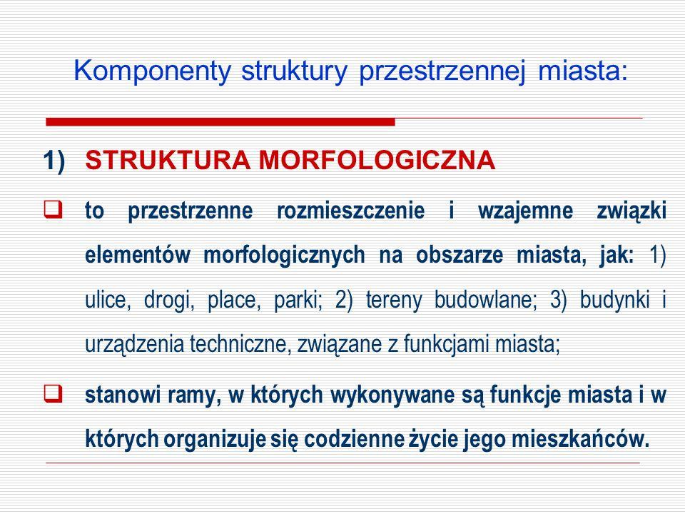 Komponenty struktury przestrzennej miasta: 1)STRUKTURA MORFOLOGICZNA to przestrzenne rozmieszczenie i wzajemne związki elementów morfologicznych na ob