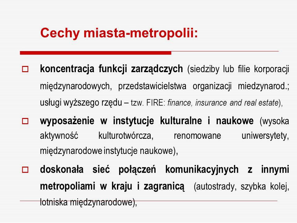 Cechy miasta-metropolii: koncentracja funkcji zarządczych (siedziby lub filie korporacji międzynarodowych, przedstawicielstwa organizacji miedzynarod.