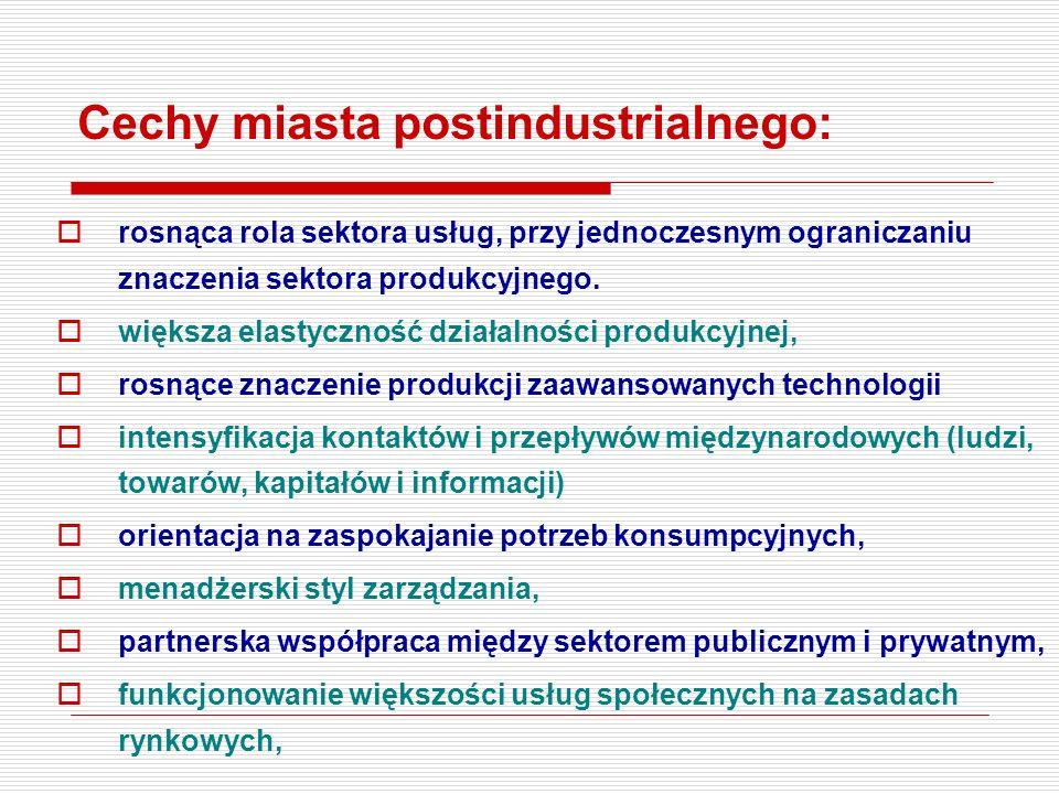 Cechy miasta postindustrialnego: rosnąca rola sektora usług, przy jednoczesnym ograniczaniu znaczenia sektora produkcyjnego. większa elastyczność dzia